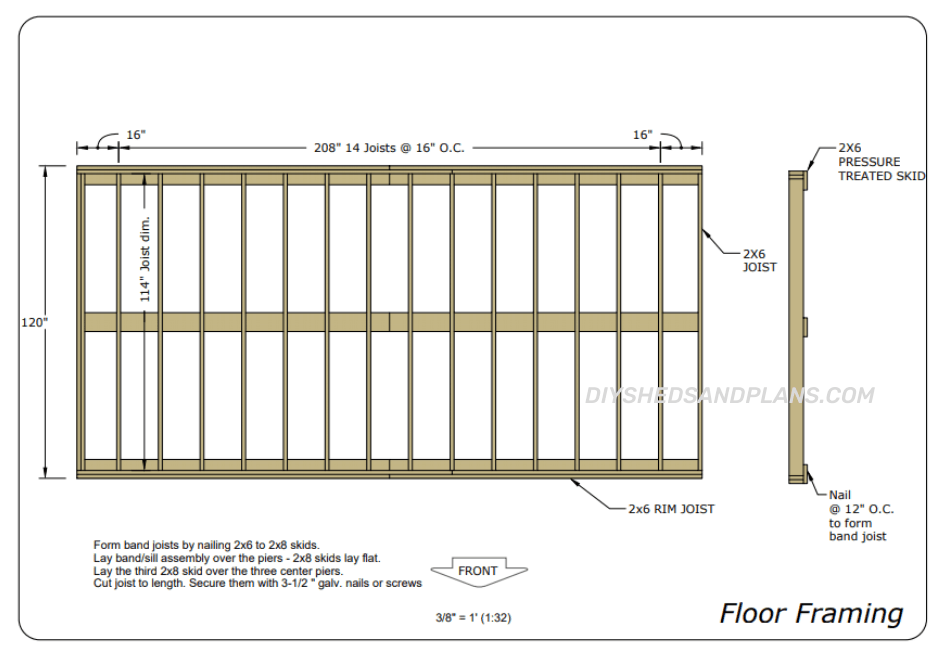 10x20 Shed Plans floor