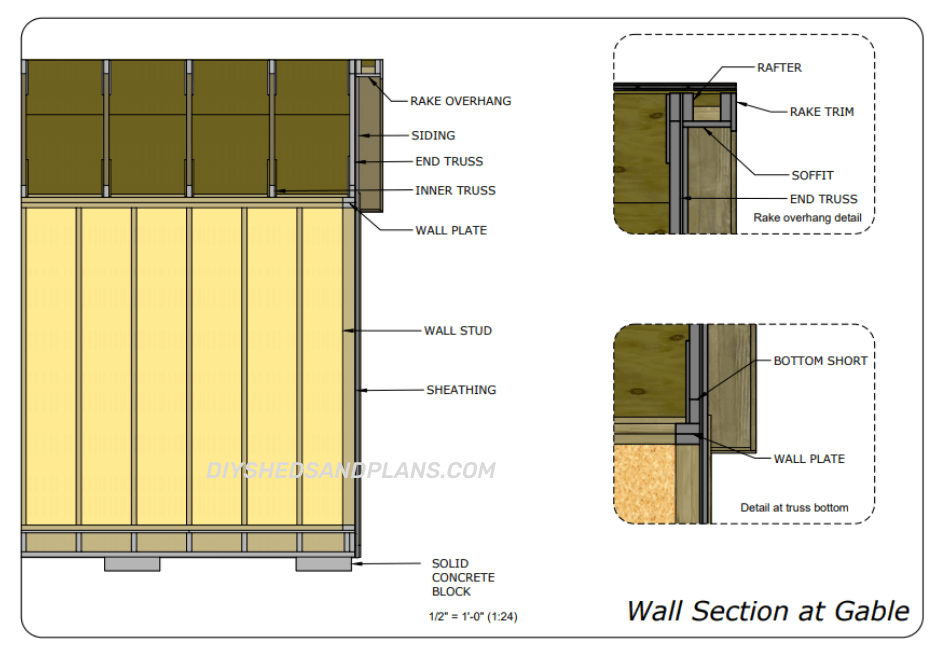 10x20 Shed Plans wall